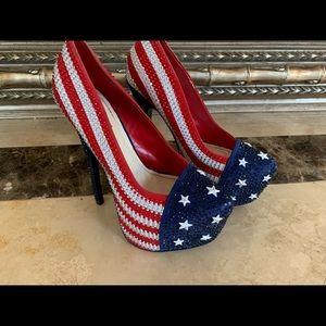 Bejeweled Patriotic Heels Size 7.5